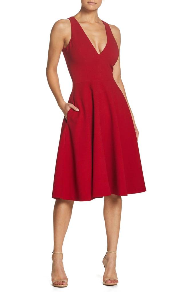 Dress the Population Catalina Tea Length Fit & Flare Dress
