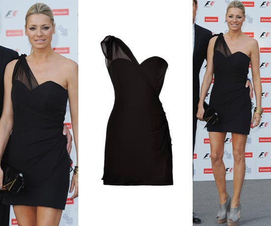 Photos of Tess Daly in a One Shoulder Black Dress at F1 Party
