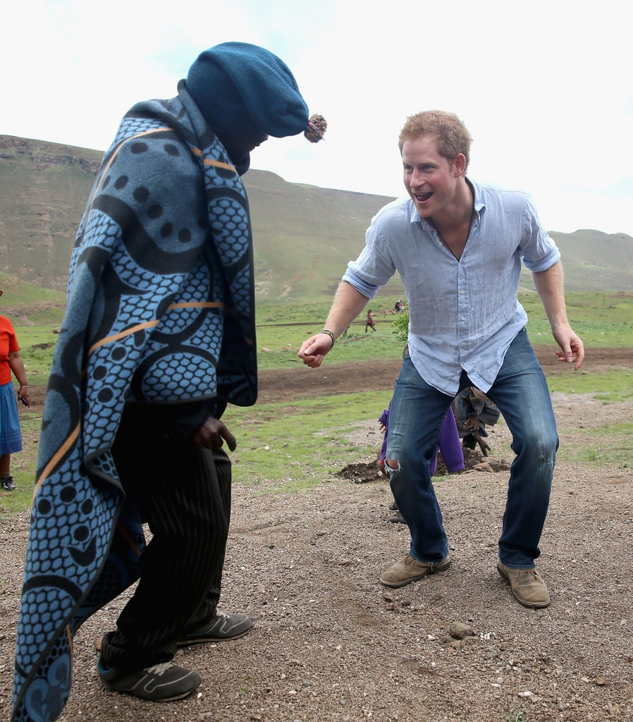 Harry and a Village Chief in Lesotho in December 2014