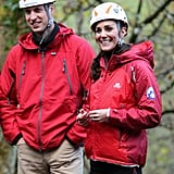 Kate was all smiles in November as she watched children zip-wire.