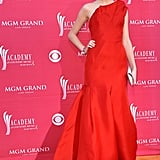 Looking statuesque in a voluminous one-shoulder gown at the 2009 Academy of Country Music Awards.