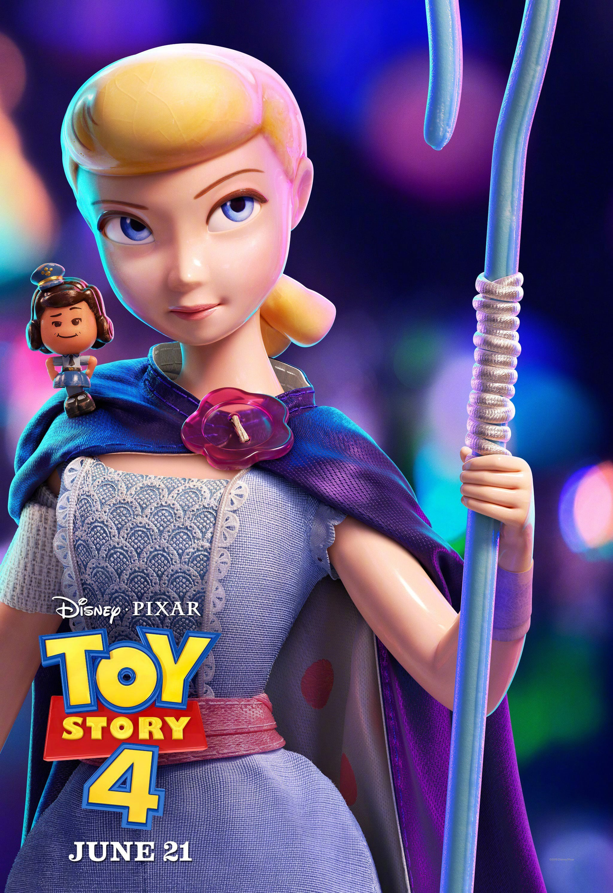 TOY STORY 4, US character poster, from left: Giggle McDimples (voice: Ally Maki), Bo Peep (voice: Annie Potts), 2019.  Walt Disney Studios Motion /courtesy Everett Collection