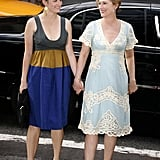 Meryl and Grace hit the NYC premiere of A Prairie Home Companion hand in hand.