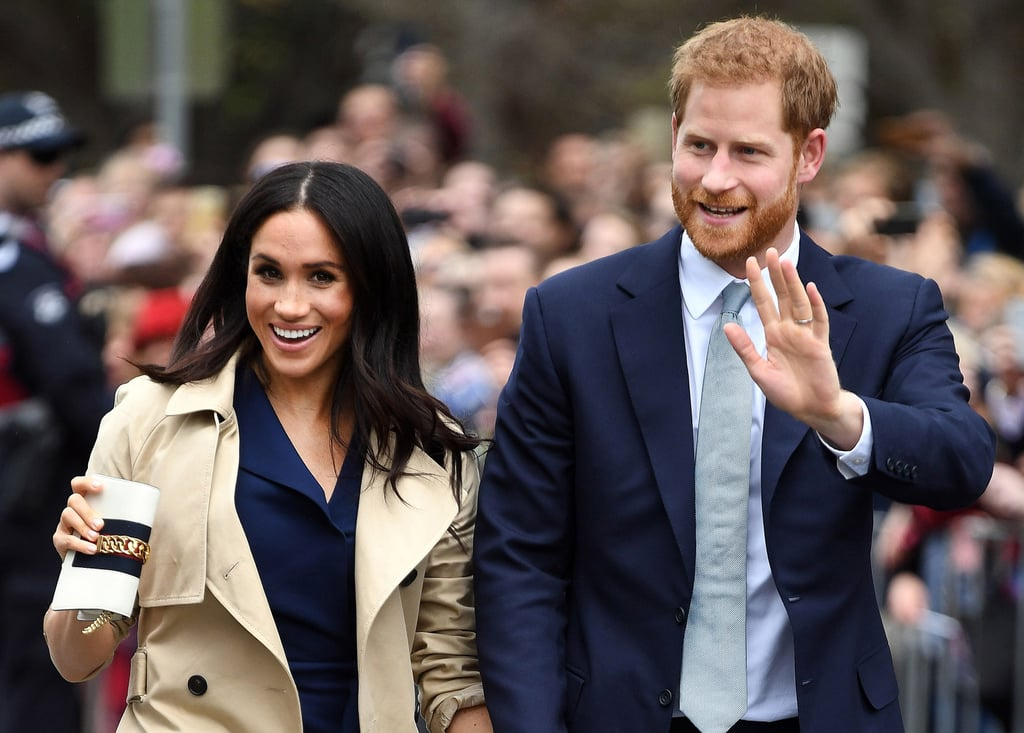 "Prince Harry and Meghan Markle are clearly having a blast on their royal tour of Australia! In addition to giving us a closer look at their romance and bonding with kids, the Duke and Duchess of Sussex have been receiving gifts from their adoring fans left and right. After Meghan was gifted a huge bouquet of flowers from radio host Matt de Groot, Harry was treated to a beautiful serenade of his wedding song, ""Stand by Me"" by Ben E. King.    As Harry was greeting fans during his stop in Melbourne on Thursday, a choir broke into song and took off their jackets, revealing T-shirts with a photo from Harry and Meghan's engagement photoshoot printed on them. ""Who's singing? Who's singing?"" Harry asked before doing a little dance of his own. ""Much better than the original!"" he added. Watch the cute moment ahead!      Related:                                                                                                           Prince Harry and Meghan Markle Just Reinvented the Art of Hand-Holding, and We're a Wreck"