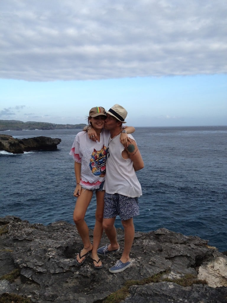 Stef Bambi went cliff jumping in Bali.