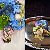 The bride's bouquet has an out-of-this-world feel with the careful placement of a few shimmering orbs, and the key represents the same one the Doctor gives to his companions before sweeping them into adventures on the TARDIS.  Source: Green Wedding Shoes