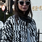 Statement sunglasses finished off this graphic street-style look.