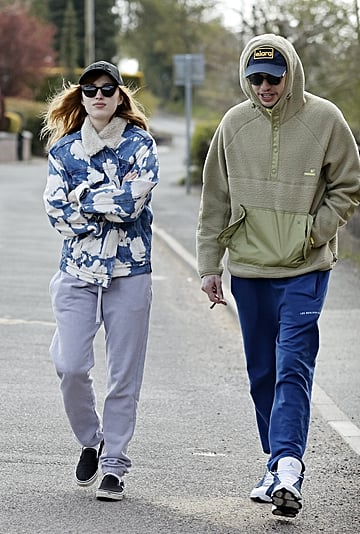 Phoebe Dynevor's Shearling Denim Jacket With Pete Davidson