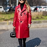 With a Black Turtleneck and a Red Leather Coat
