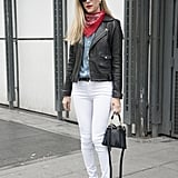 Wear White Jeans With a Chambray Top and a Leather Jacket