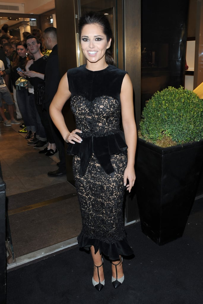 0ef7d16417676 Cheryl Cole picked a black velvet peplum design at the Giuseppe Zanotti  Design shop event in