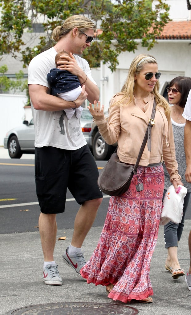 Chris Hemsworth stepped out for a breakfast date with wife Elsa Pataky and friends.