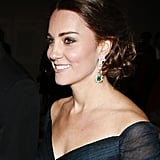 Kate Brought Out the Green in Her Dress With Diamond Drop Emerald Earrings