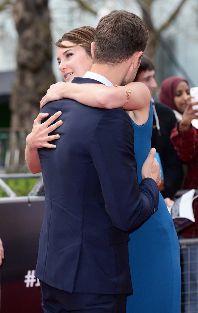 Theo and Shailene shared a big hug at the London premiere of Divergent in March.
