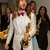 Lupita photobombed Jared backstage, which was way too cute to handle.