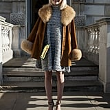 A luxe fur-trimmed coat finished off this more glamorous take on day wear.