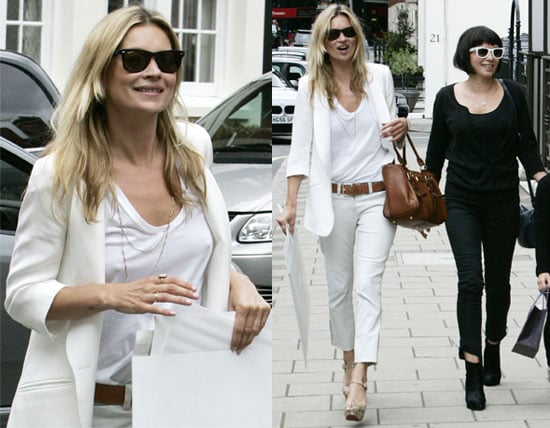 Pictures of Kate Moss Dressed in White Out in London With Sadie Frost Dressed All in Black