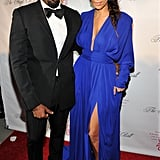 Even wearing a maxi dress, Kim managed to show skin with an ultalow neckline and thigh-high slit. Kim donned this brilliant blue long-sleeved gown at 2012 Angel Ball.