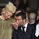 Tilda Swinton got love from Slimane Dazi while on the red carpet on Saturday for the Only Lovers Left Alive premiere.