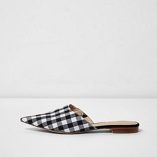 River Island Black Gingham Print Pointed Mules