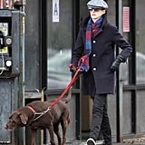 Anne Hathaway strolled with her dog, Esmeralda.