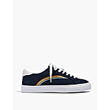 Low-Top Sneakers in Deep Navy Rainbow Embroidered Canvas