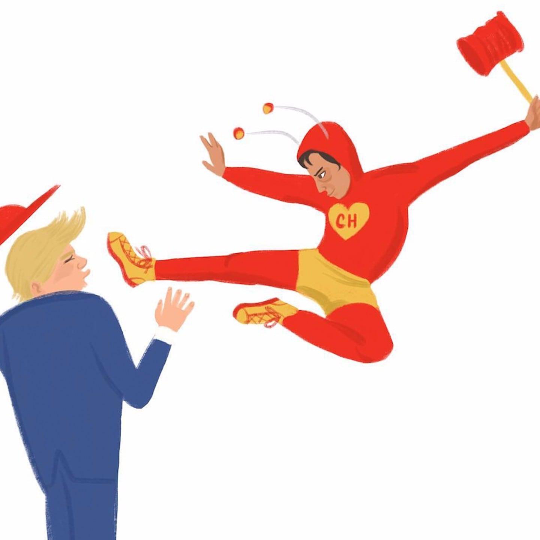 Chapulin Colorado Fighting Donald Trump Illustration