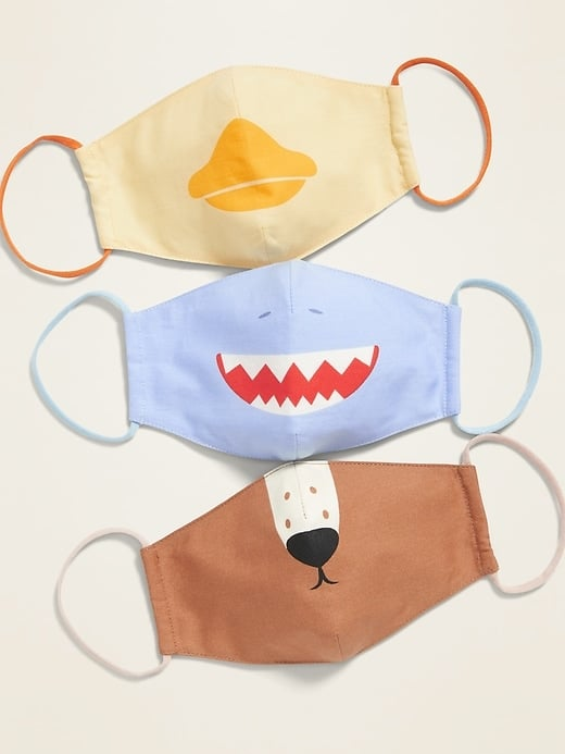 Variety 3-Pack of Triple-Layer Cloth Critter Face Masks
