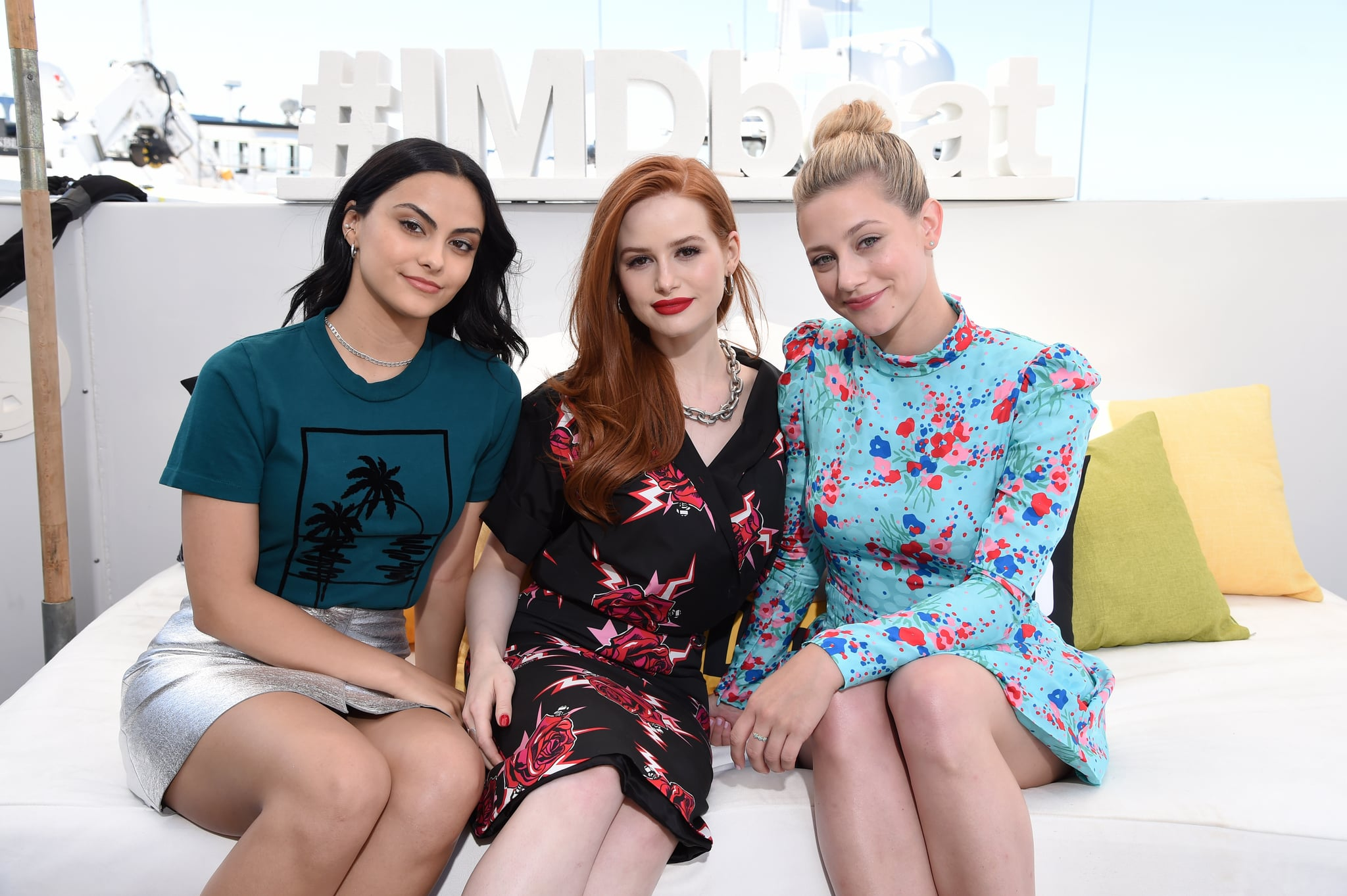 Camila Mendes, Madelaine Petsch and Lili Reinhart attend the #IMDboat at San Diego Comic-Con 2019: Day Three at the IMDb Yacht on July 20, 2019 in San Diego, California. (Photo by Michael Kovac/Getty Images for IMDb)