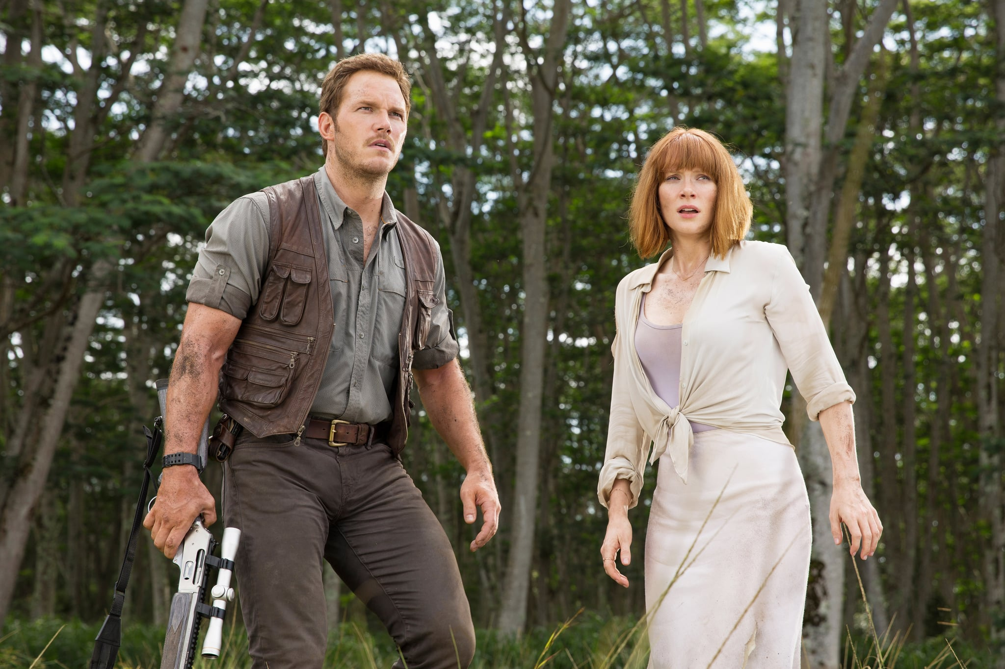 JURASSIC WORLD, from left: Chris Pratt, Bryce Dallas Howard, 2015. ph: Chuck Zlotnick/Universal Pictures/courtesy Everett Collection