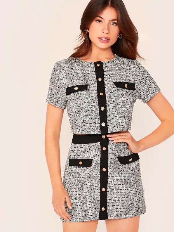 Shein Tweed Jacket & Skirt Set