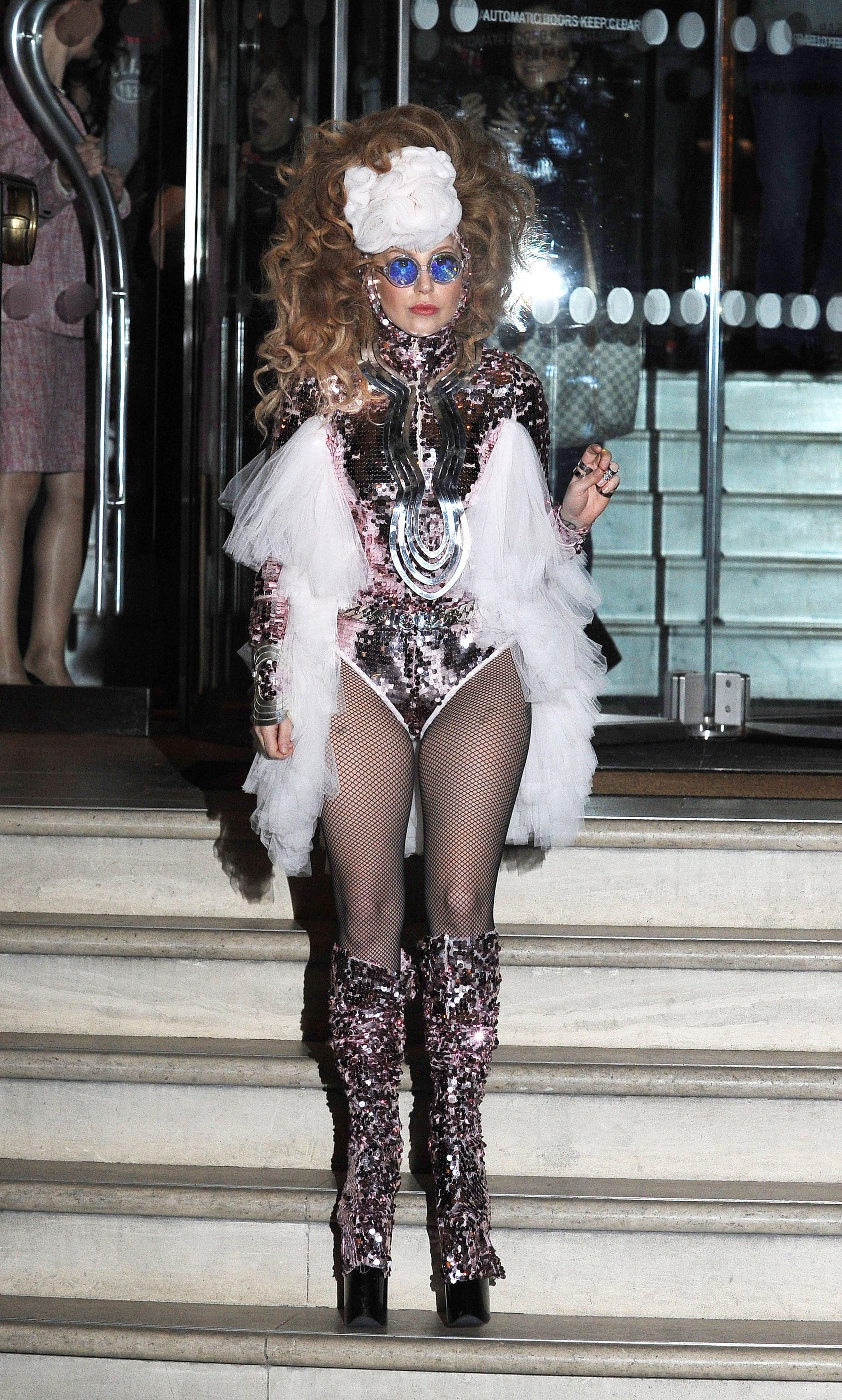 Lady-Gaga-Sequined-Bodysuit-London-2013.