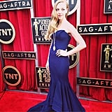 Amanda Seyfried posed in a navy-blue Zac Posen gown. Source: Instagram user sagawards