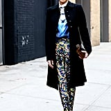 Note: when you do prints on prints, pull it all together with understated outerwear — perfection.