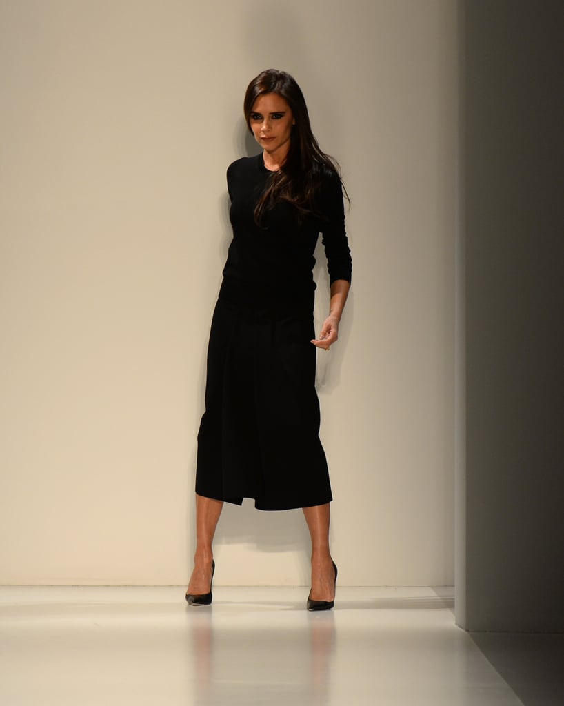 Victoria Beckham walked the runway at the end of her show on Sunday.