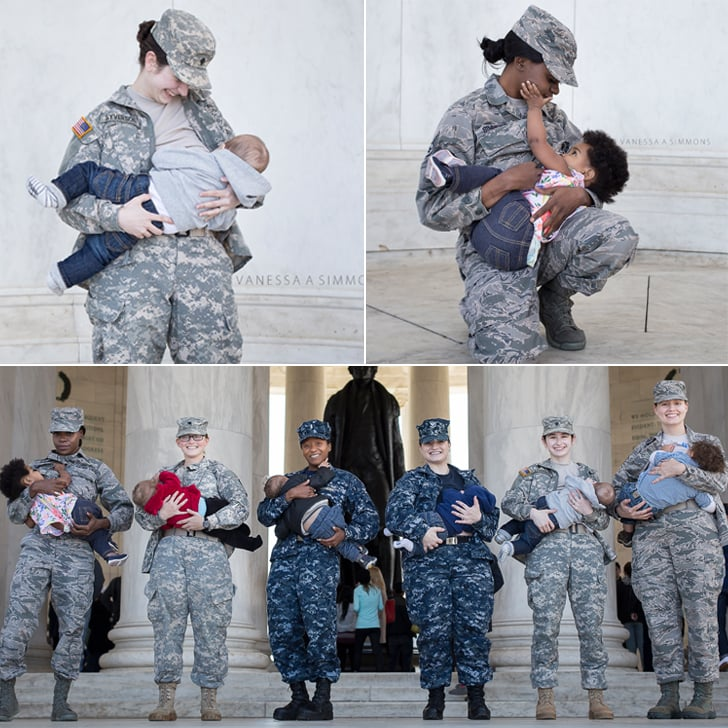 Breastfeeding Moms Nurse in Military Uniforms