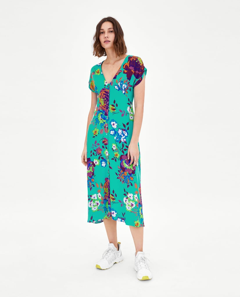 Selena Gomez Blue Floral Reformation Dress Popsugar Fashion