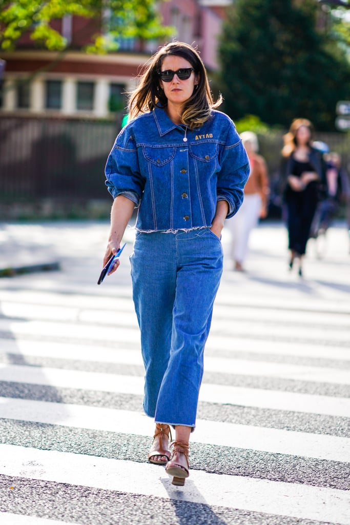 Denim on denim in rigid, structured cuts looks almost like suiting — so fresh!