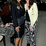 Kristen Stewart and Salma Hayek posed together before taking their seats.