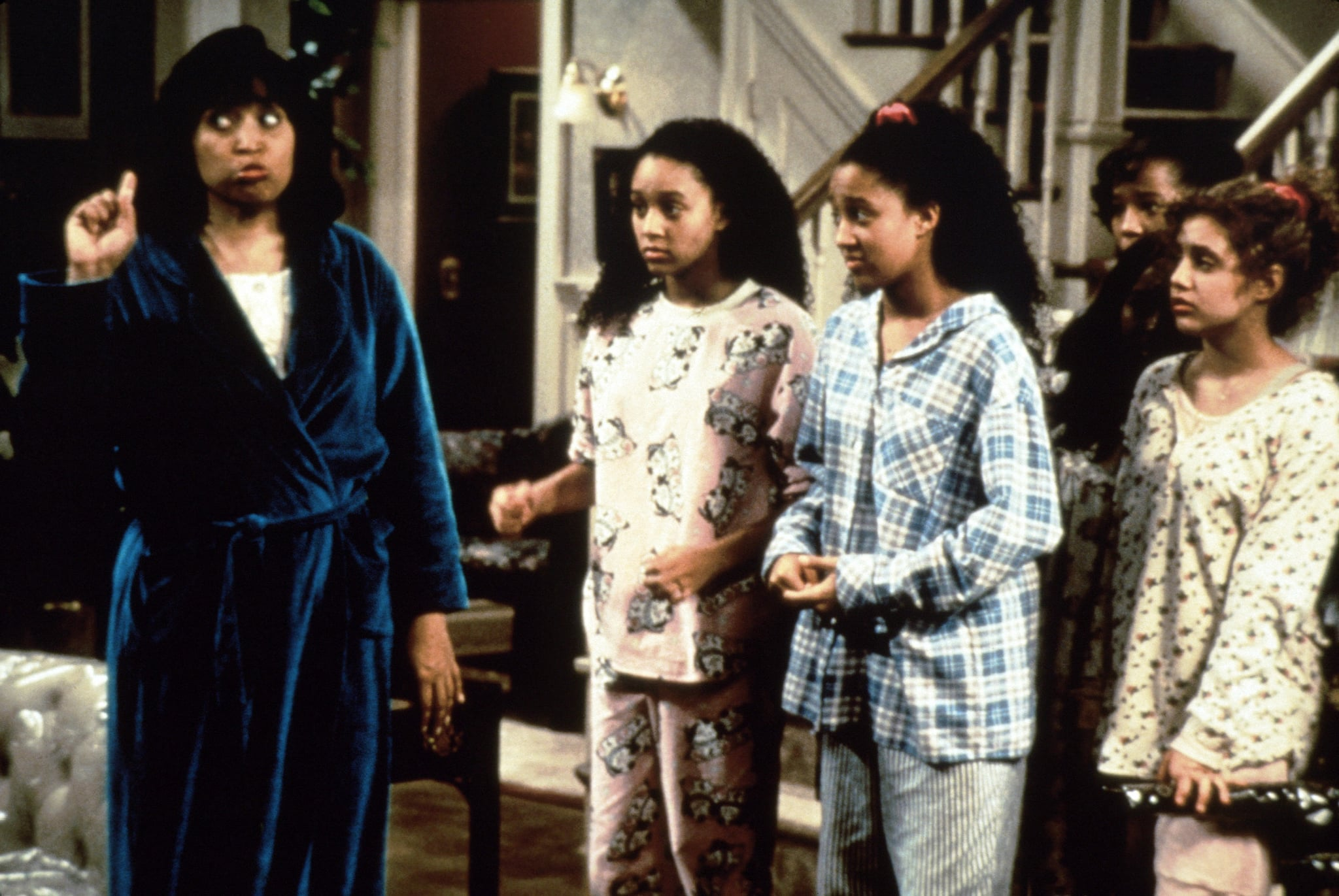 SISTER, SISTER, from left: Jackee Harry, Tia Mowry, Tamera Mowry, Brittany Murphy, 'Slumber Party,' (aired April 8, 1994), 1994-1999,  Paramount Television/courtesy Everett Collection