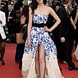 Liu Wen was a knockout in a high-low floral creation at The Unknown Girl's premiere.