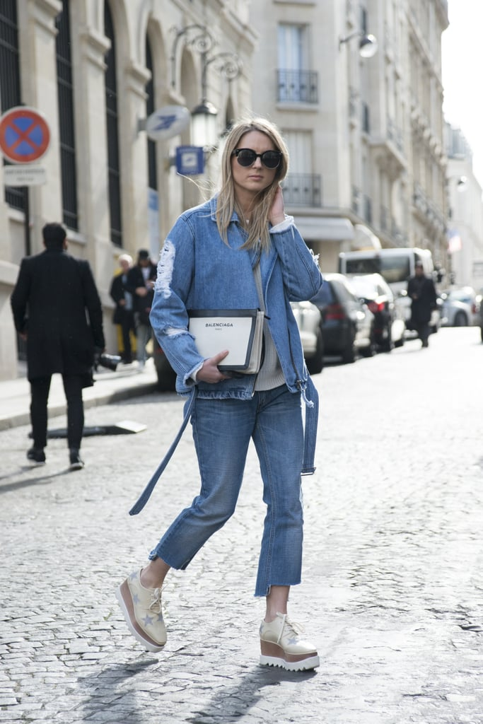 With a distressed denim jacket and creepers that offer just a little funk