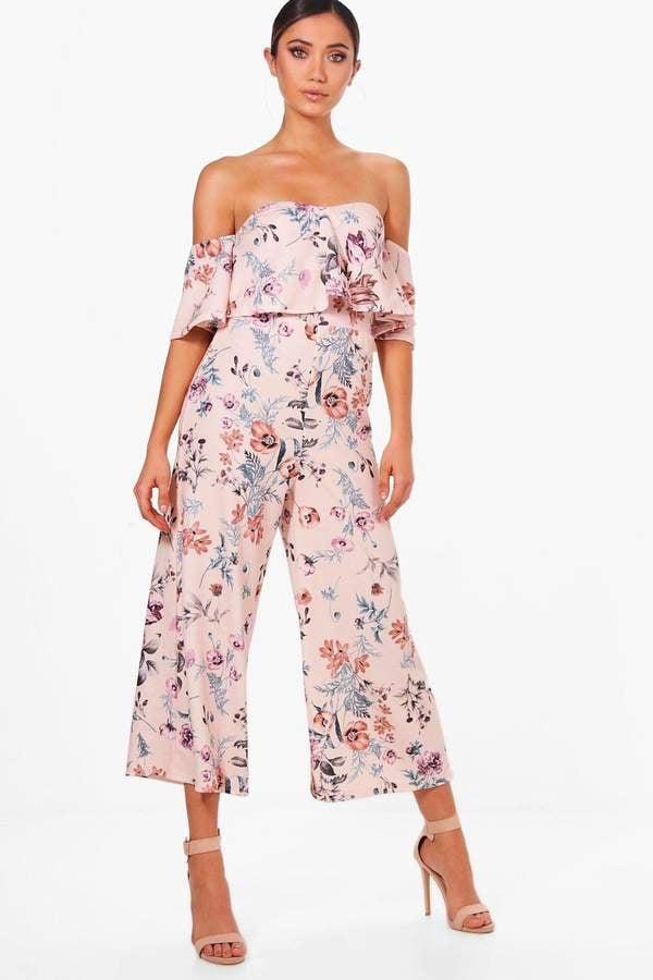 fffed28dbf99 boohoo Gracie Floral Print Off Shoulder Culotte Jumpsuit | Wedding ...