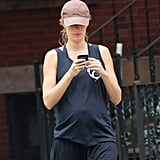 Gisele Bundchen showed off her toned arms in a black tank top in Boston.