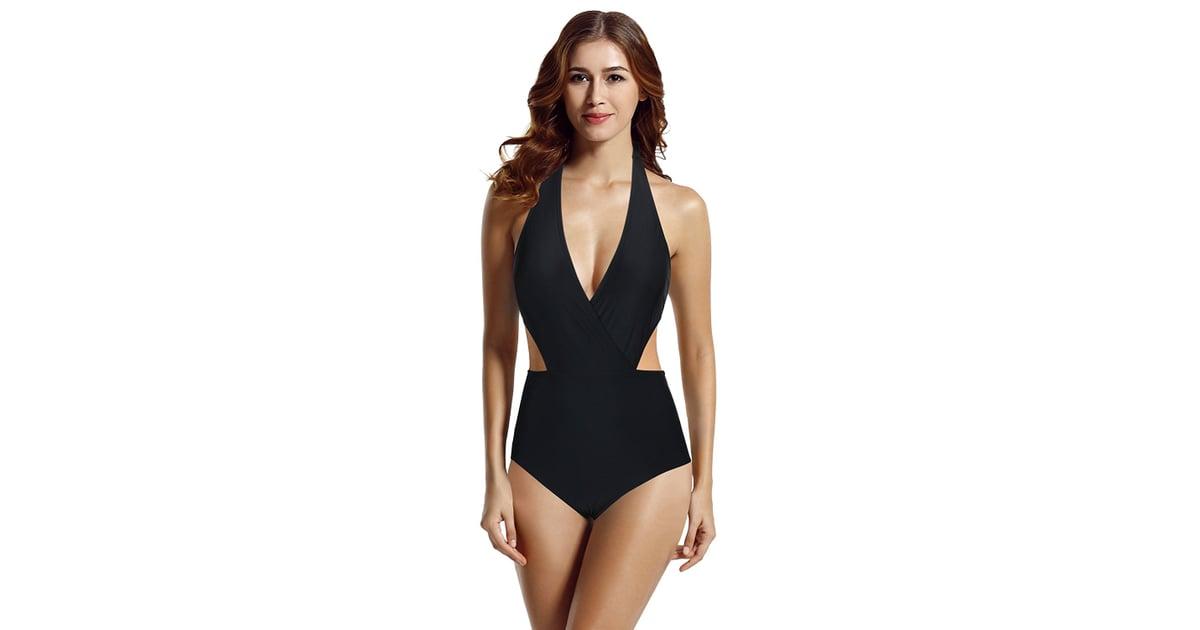 e1097183fb3ed Zeraca Surplice Neckline One-Piece Swimsuit