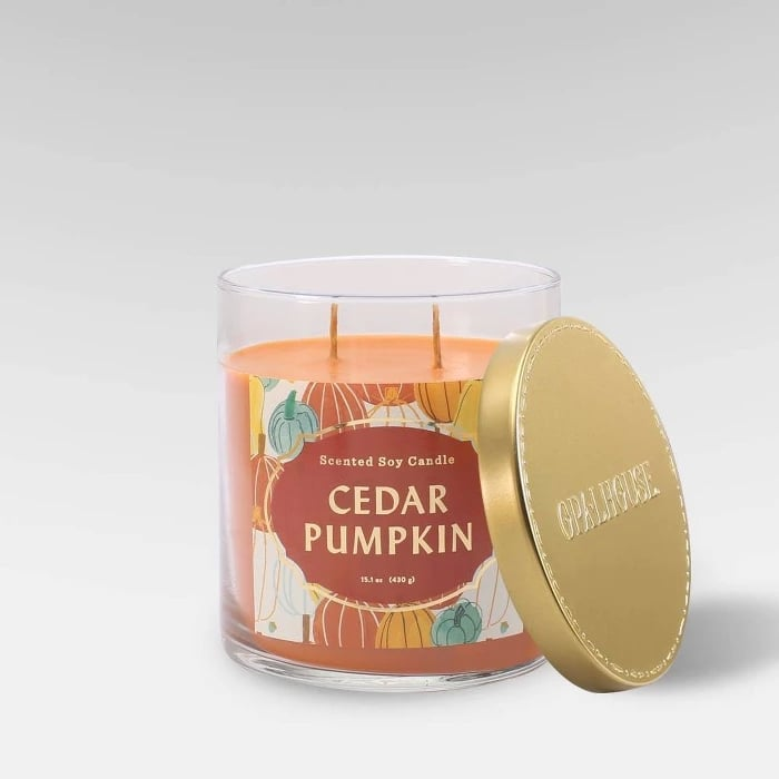 Cedar Pumpkin Lidded Glass Jar 2-Wick Candle
