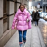 Winter Outfit Idea: A Pretty Pink Puffer and Jeans