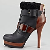 From the cozy shearling detail to the bold buckle straps, we're head over heels in love with this Fendi Moorland Shearling-Trim High-Heel Bootie ($1,140).