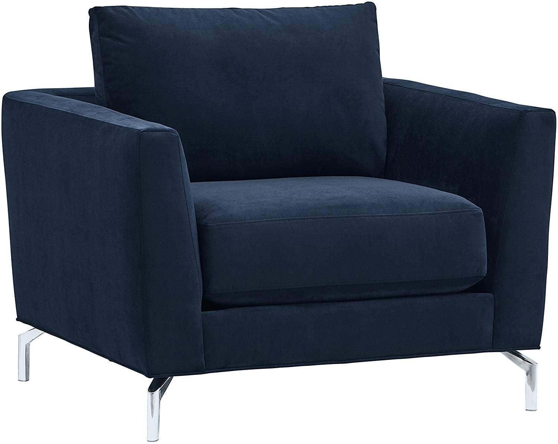 Rivet Emerly Mid Century Modern Velvet Accent Chair Forget