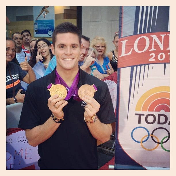 Gold medalist David Boudia stopped by Today with his new trophies. Source: Instagram user todayshow